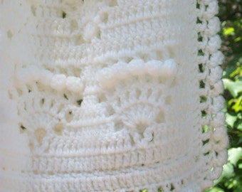 Antique White Baby Blanket Baptism Shawl Christening Blanket Heirloom Afghan Crochet READY TO SHIP