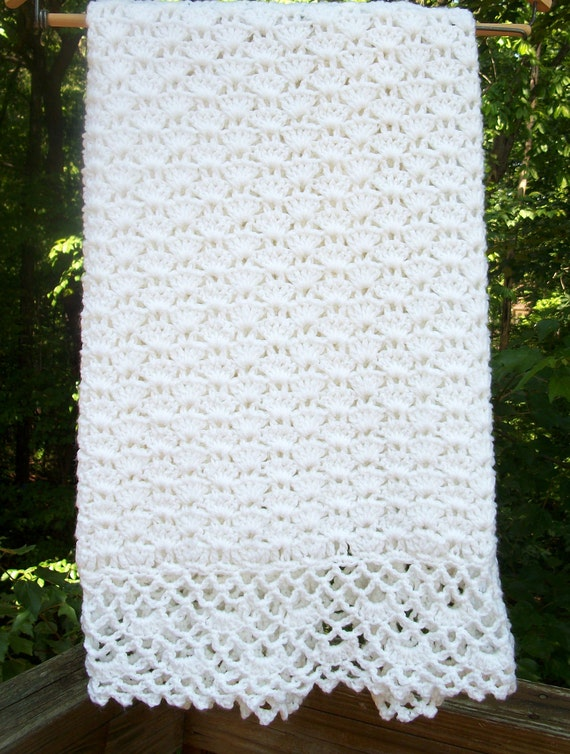 Crochet Baby Blanket Baptism Blanket Ready To Ship
