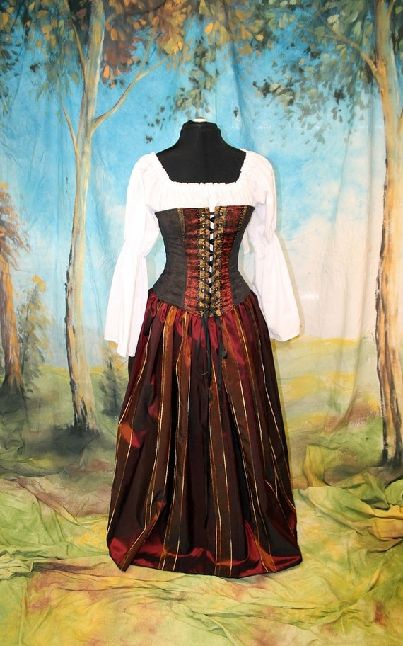 Black and Burgundy Overbust Corset  2 piece SET for Renassance, Pirate, Gypsy, Steampunk, 1 size left 23, Ready to Ship