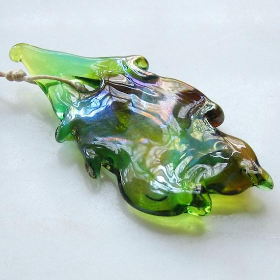 Leaf Pendant - large art glass focal bead with iridescent peacock green glass - Art Nouveau