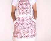 Pink Full Apron, Tan Cream Womens Apron, Polka Dot Contrast, Cute Kitchen Apron