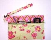 Pink Clutch Wristlet, Light Green Pink Purse, Floral Wallet, Pink Diamond Contrast Makeup Bag