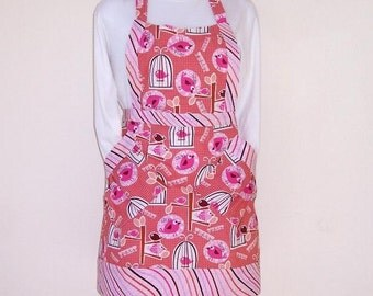 Bird Cage Apron, Bird Print Apron, Pink Birds in Cages Womans Full Apron, Pink Brown Striped Contrast, Cute Kitchen Apron
