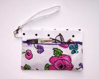 Cell Phone Wristlet, Floral Clutch, Wallet With Strap, Black Polka Dot Makeup Bag, Camera or Gadget Bag, Small Zipper Bag, Zipper Pouch