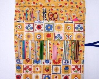 Knitting Needle Case With 17 Pockets For Straight Needles and Crochet Hooks, Gold Flowers and Owls For Storing DPN and Paintbrush Holder