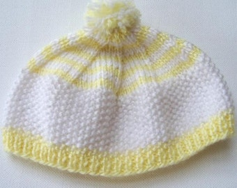 Newborn Hand Knit Hat, White Yellow Striped Knitted Baby Hat,  Knit Tam, Baby Beret, Baby Shower Gift, Infant Cap