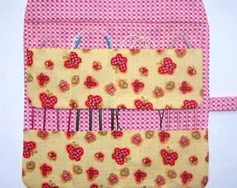 Yellow Circular Knitting Needle Case, Crochet Hook Holder, Yellow With Pink Butterflies Double Pointed Needle DPN Storage Organizer