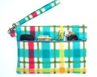 Turquoise Plaid Wristlet Clutch, Pink Yellow Green Wallet, Bright Small Zippered  Purse, Lined Makeup Bag, Plaid Phone or Camera Bag