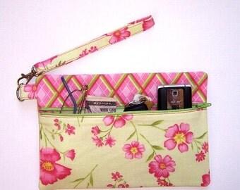 Pink Clutch Wristlet, Light Green Pink Purse, Floral Wallet, Pink Diamond Contrast Makeup Bag, Zipper Phone Clutch, Small Zipper Pouch