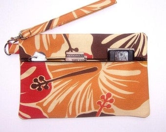 Small Wrist Purse, Gold Rust Brown Wristlet, Floral Clutch Purse, Zippered Wallet, Cosmetic Bag, Camera and Gadget Bag, Front Zip Phone Bag