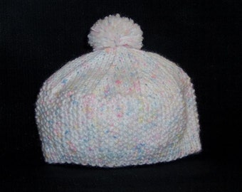 White Pink Blue Knitted Newborn Hat, Infant Beret, Newborn Tam, Hand Knit Baby Hat, White With Pink and Blue Flecks Sized to Fit Newborns