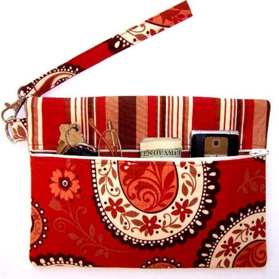 Paisley Wristlet Clutch Wallet Rust Purse Striped Contrast