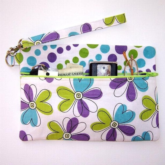 Purple Green Wristlet Wallet Clutch Purse Flowers Dots Contrast