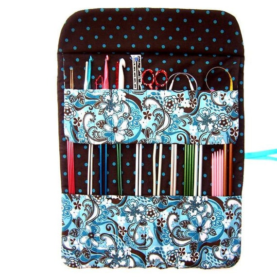 Storage Knitting Needle Holder Crochet Hook Organizer Roll Turquoise