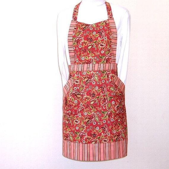 Womans Peach Green Paisley Apron, Peach Striped Contrast Floral Full Apron, Womans Cute Kitchen Apron, Modern Apron