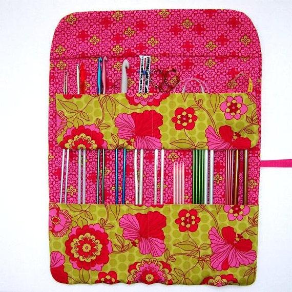 Knitting Organizer Case : Knitting needle holder organizer crochet hook case by