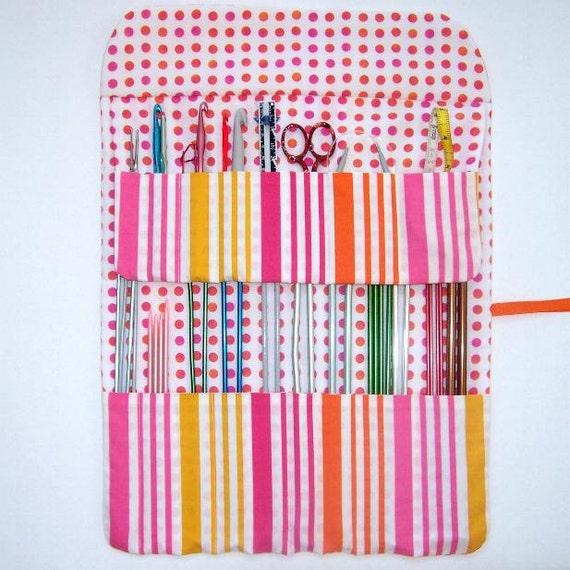 Pink Orange Knitting Needle Holder Organizer Crochet Hook Case Storage Stripes and Dots