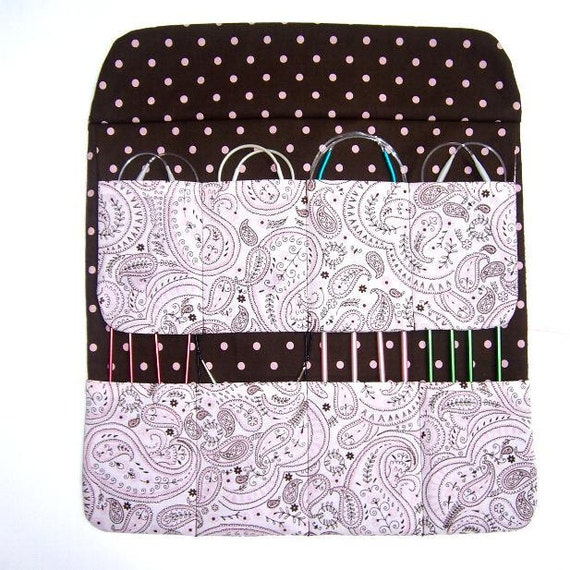 Pink Brown Paisley Circular Knitting Needle Holder Storage Crochet Hook Case Polka Dot Contrast
