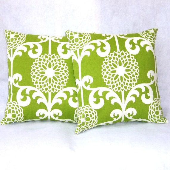 "Lime Green Decorator Pillow Covers 16"" x 16"" Indoor Outdoor Fabric Home Decor Pillow Covers"