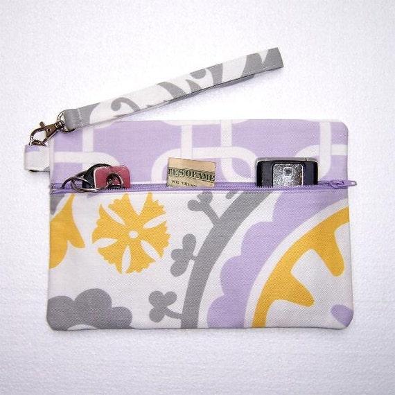 Lavender Yellow White Wristlet Clutch Zippered Wallet Purse