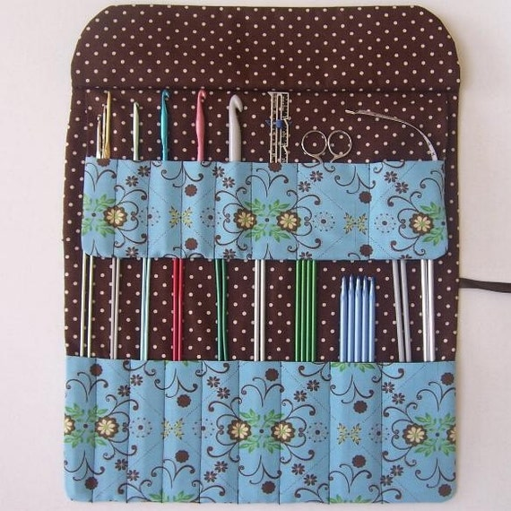 Blue and Brown Padded Knitting Needle Crochet Hook Organizer Roll