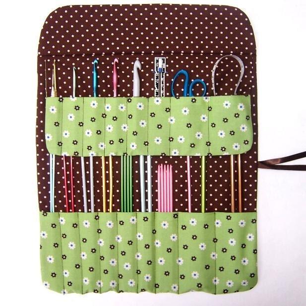 Knitting Needle Storage Roll : Green knitting needle holder crochet hook case storage roll