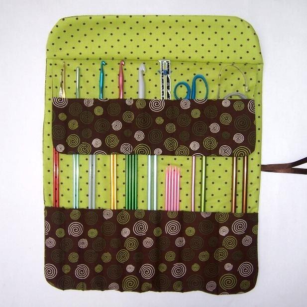Knitting Organizer Case : Brown knitting needle holder crochet hook case roll organizer