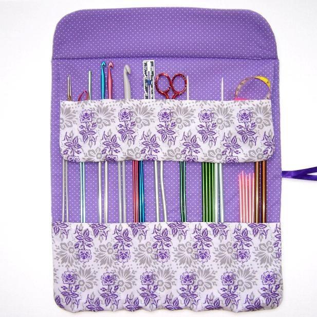 Knitting Needle Cases Storage : Lavender knitting needle storage holder crochet hook by