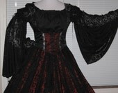 DDNJ Renaissance 1 Tier Chiffon Sleeve Black Chemise Goth Gypsy Pirate Witch Vampire Chemise Custom Made to Your measurements