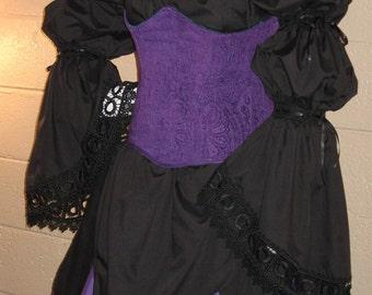 DDNJ Choose Color 2 Tier Petal Hem Chemise Keyhole Venetian Renaissance Vampire Witch Gypsy Anime Plus Custom Made ANY Size Medieval Costume