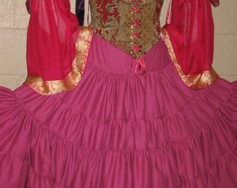 DDNJ Choose Color Multi Tier Skirt Renaissance Gothic Pirate Gypsy Belly Dance Cosplay LARP Anime Plus Custom Made ANY Size Medieval Costume