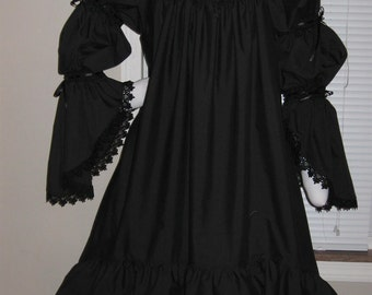 DDNJ Choose Color Burlesque Victorian Style Chemise OverSkirt Renaissance Goth Pirate Witch Vampire Plus Custom Made ANY Size Anime Costume