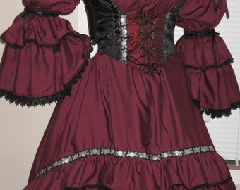 DDNJ Choose Color Burlesque Victorian Style Chemise OverSkirt Renaissance Pirate Witch Vampire Plus Custom Made ANY Size Anime Costume LARP