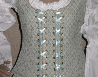 DDNJ Choose Fabrics Fully Reversible Demi Bodice Style Side Lace Tabbed Corset Plus Custom Made ANY Size  Renaissance  Pirate Anime Wedding