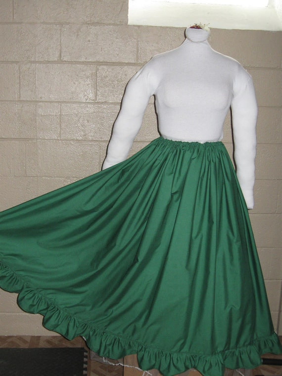 DDNJ NEW Ready to Ship Green Cotton Ruffle Skirt Renaissance Civil War Pirate Gypsy Witch Costume Halloween Vampire Anime LARP