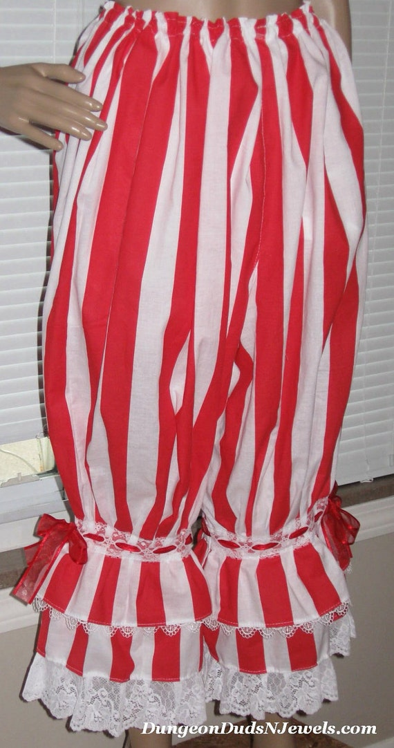DDNJ NEW Ready to Ship Red White Bloomers Pantaloons Renaissance Anime Pirate Steampunk Lolita LARP  Fit Multi Size Plus Size