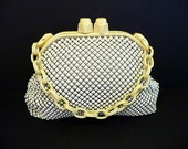 1940s purse / Chunky Frame Vintage 40's Art Deco Whiting and Davis Mesh Bag