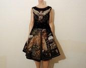 1950s circle skirt / Vintage 50's Southwest Desert Eagle Handpainted Sequin Skirt Blouse Set