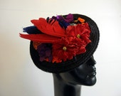 1950s hat / Tickle Your Fancy Flowers and Feathers Fascinator Vintage 50's Hat