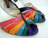1980s shoes / Cage My Heart Vintage 80's Rainbow Neiman Marcus Heels Shoes Italian