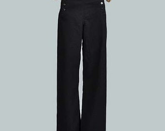 sailor pants / Vintage SAILOR High Waisted Wide Leg Wool Pants Corset Back