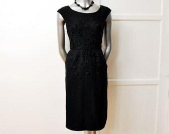 1950s dress / Vintage 50's Dress Elegant Ben Barrack Black Embroidered Details