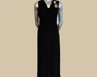 1930s dress / Vintage 30's Black Velvet Dress Black and Peach Pansy Gown Bakelite Buckle