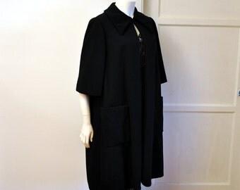 vintage 50s coat / Swing into Style Vintage 1950's Adele Simpson Black Coat