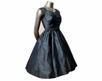 1950s dress / Vintage 50's Peacock Blue Jonathan Logan Silk Full Circle Skirt Dress Gr8 Back