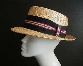 1930s hat / The Last Straw Italian Vintage 30's Knox Boater Hat Italy