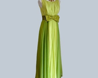 vintage dress / Float on Air Vintage 1960s Two Tone Chiffon Goddess Maxi 60s Dress