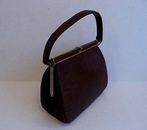 1950s purse / Vintage 50's Lizard Kelly Bag Purse Exotic Espresso Brown