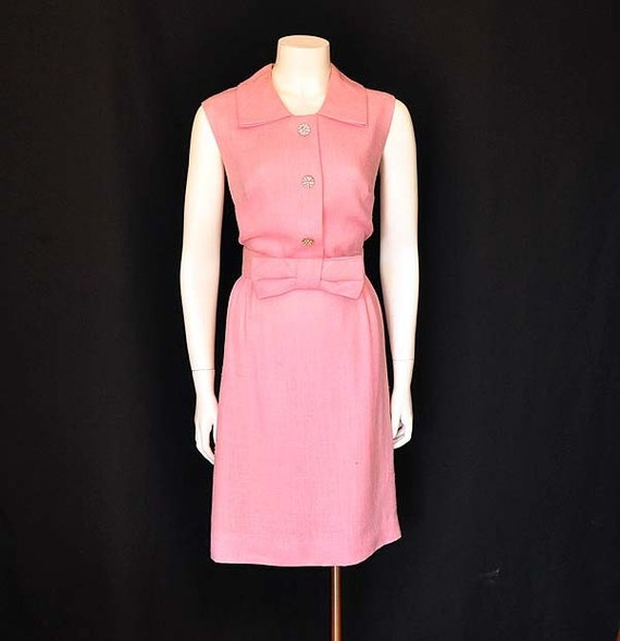1960s dress / Perky Pink Vintage 60's Mod Big Bow Dress