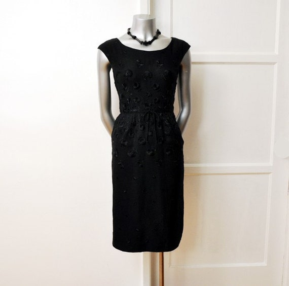1950s dress / Vintage 50's Dress Elegant Ben Barrack Black Embroidered Details